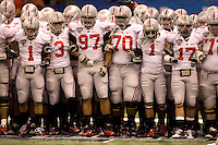 Ohio State Football Players huddle together before warm-ups before the game during 77th Annual Allstate Sugar Bowl Classic at Louisiana Superdome in New Orleans, Louisiana on January 4th, 2011.  Ohio State defeated Arkansas, 31-26.