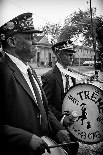 "(L-R) Drummer Bernard ""Bunchy"" Johnson and Lionel Batiste of the Treme Brass Band, known as Uncle Lionel, on the set of HBO's ""TREME"" (The Pilot) on 31 March 2009 in New Orleans, Louisiana. USA."