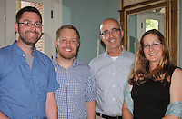 NWA Democrat-Gazette/CARIN SCHOPPMEYER Dustin Demoin, Alex Dopp (from left), and William and Connie Lamm enjoy the UA new faculty reception Aug. 29.