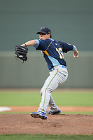 Myrtle Beach Pelicans starting pitcher Thomas Hatch (19) in action against the Winston-Salem Dash at BB&T Ballpark on May 11, 2017 in Winston-Salem, North Carolina.  The Pelicans defeated the Dash 9-7.  (Brian Westerholt/Four Seam Images)