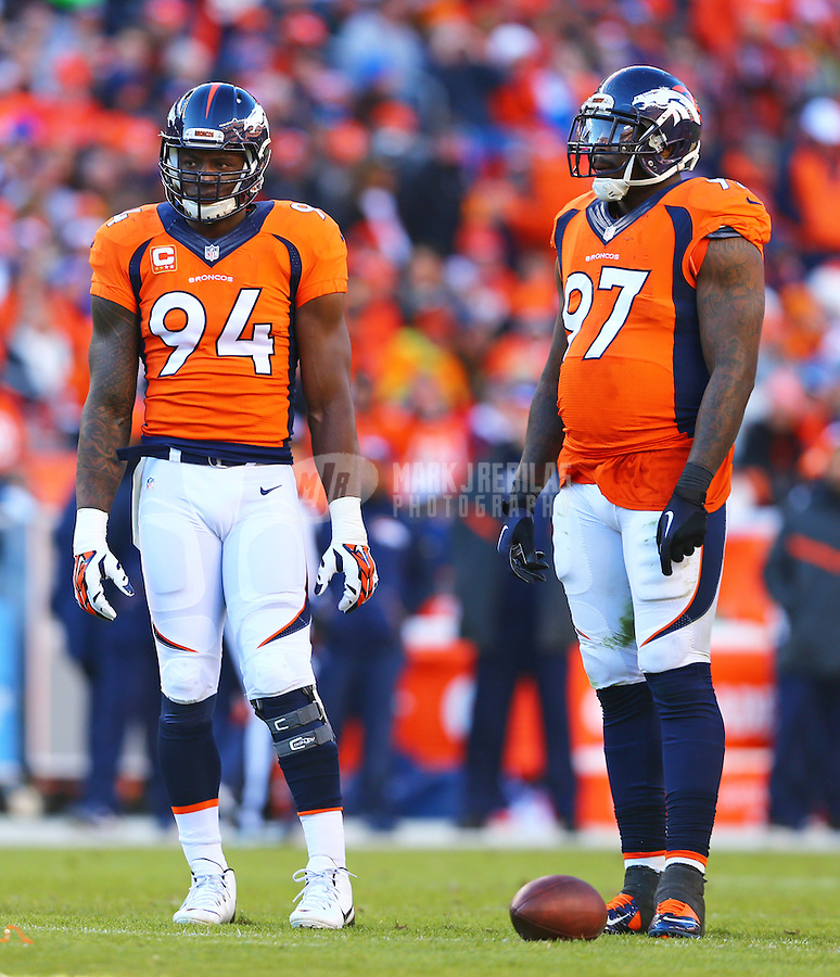 Jan 17, 2016; Denver, CO, USA; Denver Broncos defensive end DeMarcus Ware (94) and defensive tackle Malik Jackson (97) against the Pittsburgh Steelers during the AFC Divisional round playoff game at Sports Authority Field at Mile High. Mandatory Credit: Mark J. Rebilas-USA TODAY Sports