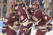 Celebrating Gionta's EN - Stephen Gionta, Brian Boyle, Tim Filangieri - The Boston College Eagles defeated the University of Maine Black Bears 4-1 in the Hockey East Semi-Final at the TD Banknorth Garden on Friday, March 17, 2006.