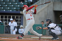 Springfield Cardinals Luke Voit (18) swings during the game against the Northwest Arkansas Naturals at Arvest Ballpark on May 3, 2016 in Springdale, Arkansas.  Springfield won 5-1.  (Dennis Hubbard/Four Seam Images)