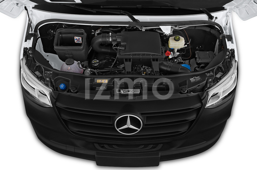 Car stock 2019 Mercedes Benz Sprinter-Crew-Van Base 4 Door Combi engine high angle detail view