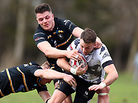 TORONTO, ON - MAY 05:  Ryan Brierley #7 of the Toronto Wolfpack is tackled by Luke Waterworth #9 and Rhodri Lloyd #11 of the Swinton Lions in the first half of a Betfred Championship match at Fletcher's Fields on May 5, 2018 in Toronto, Canada.  (Photo by Vaughn Ridley/SWpix.com)