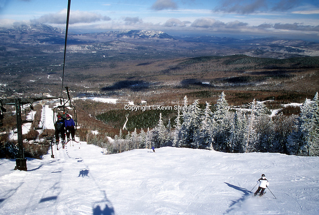 Skiing at Sugarloaf in Carrabassett Valley, Maine, USA