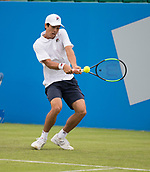 June 10th 2017,  Nottingham, England; ATP Aegon Nottingham Open Tennis Tournament day 1; Two handed backhand from Mackenzie McDonald of USA who defeats James Ward of Great Britain in two sets