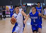 Shalom Broughton drives past Taine Murray during the 2019 Schick AA Boys' Secondary Schools Basketball National Championship final between St Kentigern and Rosmini College at the Central Energy Trust Arena in Palmerston North, New Zealand on Saturday, 5 October 2019. Photo: Dave Lintott / lintottphoto.co.nz
