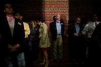 People wait backstage during a Senator Scott Brown (R-MA) campaign rally at the American Civic Center in Wakefield, Massachusetts, USA, on Thurs., Nov. 2, 2012. Senator Scott Brown is seeking re-election to the Senate.  His opponent is Elizabeth Warren, a democrat.