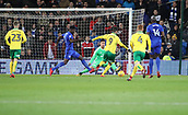 1st December 2017, Cardiff City Stadium, Cardiff, Wales; EFL Championship Football, Cardiff City versus Norwich City; Nelson Oliveira of Norwich City goes 1 on 1 with Neil Etheridge of Cardiff City but gets blocked