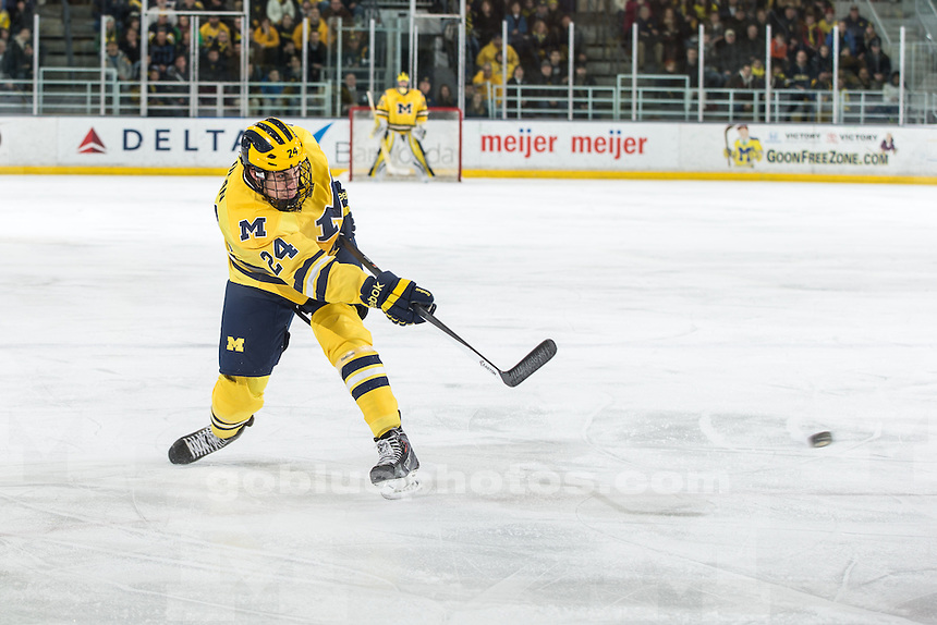 The University of Michigan ice hockey team ties Ohio State, 2-2 (SO, L), at Yost Ice Arena in Ann Arbor, Mich. on February 28, 2014.