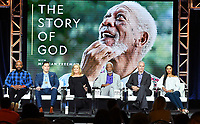 PASADENA, CA - FEBRUARY 10:  Sal Maskela, Eddy Robinson, Lori McCreary, Morgan Freeman, James Younger and Nelufar Hedayat attend The Story of God panel at the 2019 National Geographic portion of the Television Critics Association Winter Press Tour at The Langham Huntington Hotel on February 10, 2019 in Pasadena, California. (Photo by Vince Bucci/National Geographic/PictureGroup)
