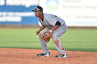 Pulaski Yankees second baseman Gosuke Katoh (28) during a game against the Greeneville Astros on July 11, 2015 in Greeneville, Tennessee. The Yankees defeated the Astros 9-3. (Tony Farlow/Four Seam Images)