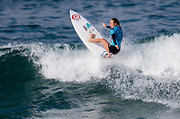 Huntington Beach, CA - Saturday August 4, 2018: Nikki Van Dijk in action during a World Surf League (WSL) World Championship Tour (WCT) Round 3 heat at the 2018 Vans U.S. Open of Surfing on South side of the Huntington Beach pier.