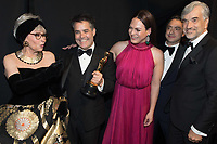 Rita Moreno, Sebasti&aacute;n Lelio, Daniela Vega pose backstage with the Oscar&reg; for Best foreign language film for work on &ldquo;A Fantastic Woman&rdquo; from Chile during the live ABC Telecast of The 90th Oscars&reg; at the Dolby&reg; Theatre in Hollywood, CA on Sunday, March 4, 2018.<br /> *Editorial Use Only*<br /> CAP/PLF/AMPAS<br /> Supplied by Capital Pictures