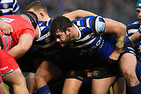 Nathan Catt of Bath Rugby prepares to scrummage against his opposite number. Gallagher Premiership match, between Bath Rugby and Sale Sharks on December 2, 2018 at the Recreation Ground in Bath, England. Photo by: Patrick Khachfe / Onside Images