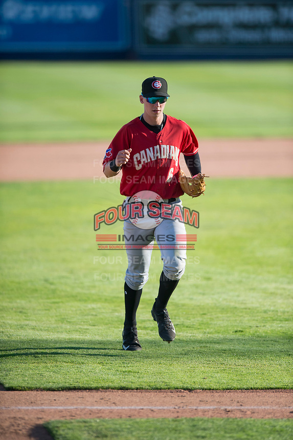 Vancouver Canadians second baseman Nick Podkul (6) jogs off the field between innings of a Northwest League game against the Spokane Indians at Avista Stadium on September 2, 2018 in Spokane, Washington. The Spokane Indians defeated the Vancouver Canadians by a score of 3-1. (Zachary Lucy/Four Seam Images)
