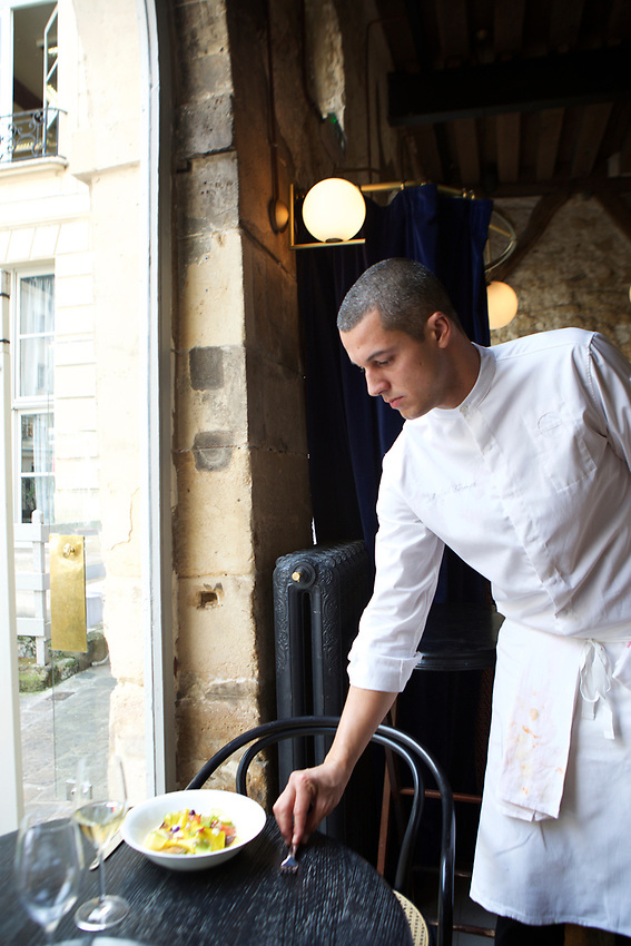 PARIS, France - June 8, 2017: In the kitchen with Chef de Cuisine Rafael Gomes at Grand Coeur in the Marais.<br /> <br /> <br /> Credit: Clay Williams.<br /> <br /> &copy; Clay Williams / http://claywilliamsphoto.com