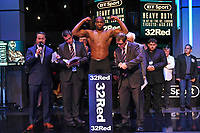 Daniel Dubois on the scales during a Weigh In at the BT Studios, Queen Elizabeth Olympic Park on 12th July 2019