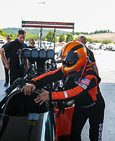 Jun 17, 2018; Bristol, TN, USA; NHRA top fuel driver Mike Salinas during the Thunder Valley Nationals at Bristol Dragway. Mandatory Credit: Mark J. Rebilas-USA TODAY Sports