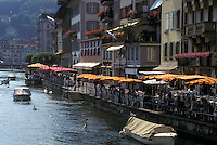 café, Switzerland, Luzern, Lucerne, Europe, Outdoor cafes along the Reuss River in the town of Luzern.