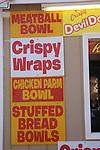 Fast food sign listing foods.