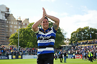 Francois Louw of Bath Rugby celebrates the win with supporters in the crowd. Aviva Premiership match, between Bath Rugby and Saracens on September 9, 2017 at the Recreation Ground in Bath, England. Photo by: Patrick Khachfe / Onside Images