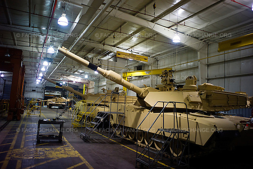 Lima, Ohio.March 2012..Near completion at the end of the assembly line...The Joint Systems Manufacturing Center (US Army Tank Plant) which is the only heavy armored tank factory in the United States. They build and refurbish Abrams tanks, Stryker armored personnel carriers, and other weapons systems.