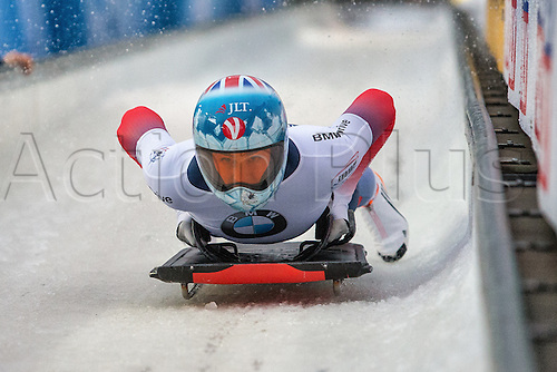 February 24th 2017,  Berchtesgaden - Konigssee, Germany; Action from the Women's Skeleton Runs 1 and 2, Laura DEAS GBR at the finish