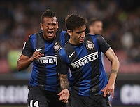 Ricardo Gabriel Alvarez celebrates  after scre  against  Napoli  l during their   Italian Serie A soccer match  r at the San Paolo stadium in Naples.NAPOLI 05/05/2013 -.CALCIO SERIE A 2012/2013 . NAPOLI - INTER - .NELLA FOTO   ESULTANZA RICKY ALVAREZ  FREDY GUARIN.FOTO CIRO DE LUCA