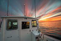 Sunset on Lake Superior at the Apostle Islands National Lakeshore near Bayfield Wisconsin.