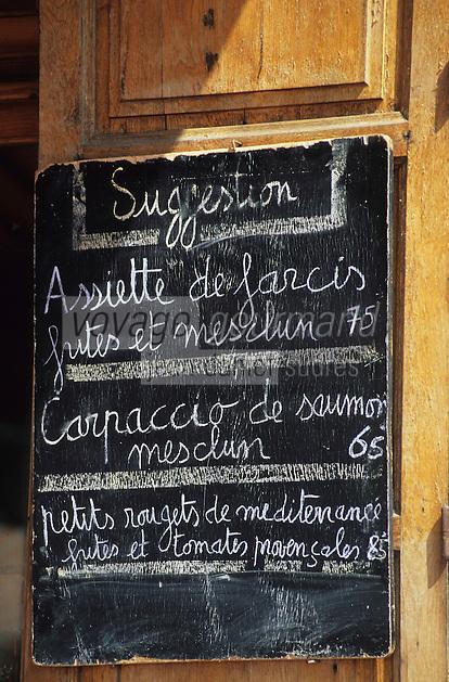 France/06/Alpes-Maritimes/Nice: Cours Saleya - Menu d'un restaurant