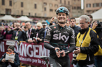 Michal Golas (POL/SKY) cheering for the race winner; his friend, teammate & countryman Michal Kwiatkowski in front of the podium during the winners ceremony on the Piazza Del Campo / Siena<br /> <br /> 11th Strade Bianche 2017