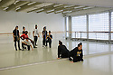 "London, UK. 16.12.2015. Choreographer, Lee Griffiths' The Company, in the rehearsal studio at The Place, preparing for Resolution 2016, where they will present her feminist work, ""Behind Every Man"". The Company is: Lee Griffiths (choreographer), Charlotte Blakeman, Christina Dion, Jordan Douglas, Pola Krawczuk, Joshua Nash, Sean Osinlaru, Ezra Owen, Hayleigh Sellors. Photograph © Jane Hobson."
