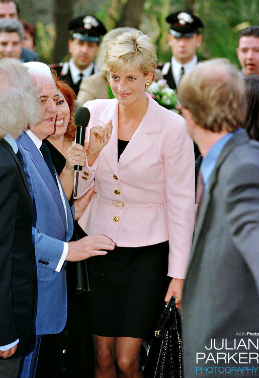 Diana, The Princess of Wales, arrives at The Grand Hotel, in Rimini, Italy..The Princess was in Rimini to receive a Humanitarian award for her charity work