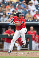 Texas Tech Red Raiders first baseman Cameron Warren (11) at bat during Game 5 of the NCAA College World Series against the Arkansas Razorbacks on June 17, 2019 at TD Ameritrade Park in Omaha, Nebraska. Texas Tech defeated Arkansas 5-4. (Andrew Woolley/Four Seam Images)