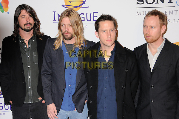 DAVE GROHL (FOO FIGHTERS).Clive Davis 2008 Pre-Grammy Awards Party at the Beverly Hilton Hotel, Beverly Hills, California, USA..February 9th, 2008.half length black jacket blue shirt band group beard facial hair.CAP/ADM/BP.©Byron Purvis/Admedia/Capital Pictures