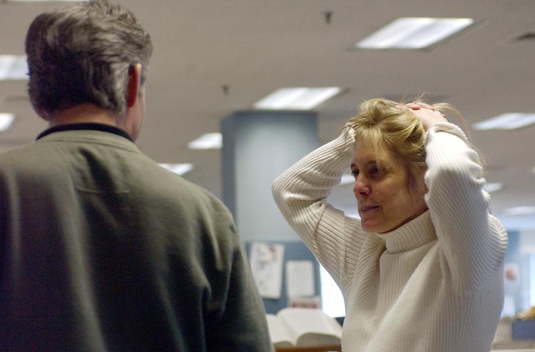 Debbie Krenek at Newsday office in Melville on Friday March 25, 2005. (Photo copyright Jim Peppler 2005).