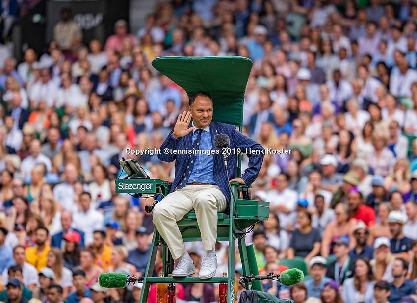 London, England, 6 July, 2019, Tennis,  Wimbledon, Centercourt, Chair umpire Mohamed Lahyani<br /> Photo: Henk Koster/tennisimages.com