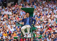 London, England, 6 July, 2019, Tennis,  Wimbledon, Centercourt, Chair umpire Mohamed Lahyani<br /> Photo: Henk Koster/tennisimages.com