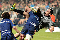 Ben Smith is tackled during the Game of Three Halves match between the NZ All Blacks and Otago at AMI Stadium in Christchurch, New Zealand on Friday, 10 August 2018. Photo: Martin Hunter / lintottphoto.co.nzz