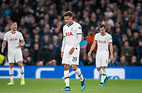Dele Alli of Spurs after his team concede a goal during the UEFA Champions League group match between Tottenham Hotspur and Bayern Munich at Wembley Stadium, London, England on 1 October 2019. Photo by Andy Rowland.