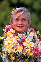 Young blond teenager wearing leis