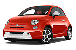 Stock pictures of low aggressive front three quarter view of a 2014 Fiat 500e 3 Door Hatchback Low Aggressive