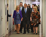 Australian Prime Minister Tony Abbott (C) walks to the Liberal Party room for the ballot for the leadership of the party, Parliament House, Canberra on September 14, 2015. Photographer: Mark Graham/Bloomberg
