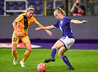 20190912 - Anderlecht , BELGIUM : Anderlecht's Sarah Wijnants (r) pictured with Biik's Brooke Gabrielle Denesik (left) during the female soccer game between the Belgian Royal Sporting Club Anderlecht Dames  and BIIK Kazygurt from Shymkent in Kazachstan, this is the first leg in the round of 32 of the UEFA Women's Champions League season 2019-20120, Thursday 12 th September 2019 at the Lotto Park in Anderlecht , Belgium. PHOTO SPORTPIX.BE | DAVID CATRY