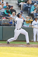Kyle Petty #44 of the Everett AquaSox at bat during a game against the Salem-Keizer Volcanoes at Everett Memorial Stadium in Everett, Washington on July 9, 2014.  Salem-Keizer defeated Everett 6-4.  (Ronnie Allen/Four Seam Images)