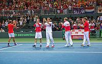 Switserland, Genève, September 20, 2015, Tennis,   Davis Cup, Switserland-Netherlands, Swiss team thanking the crowd<br /> Photo: Tennisimages/Henk Koster