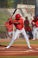 AZL Angels Trent Deveaux (17) at bat during a game against the AZL Giants Orange at Giants Baseball Complex on June 17, 2019 in Scottsdale, Arizona. AZL Giants Orange defeated AZL Angels 8-4. (Zachary Lucy/Four Seam Images)