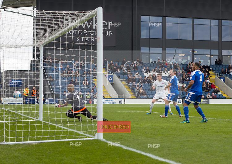 29/04/2017 National League North AFC Fylde v Worcester City<br /> <br /> Andy Bond scores AFC Fylde's third goal